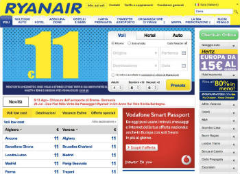 Screenshot sito Ryanair