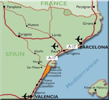 Cartina Spagna Benicassim.Mappa Posizione Reus Viaggio Vero